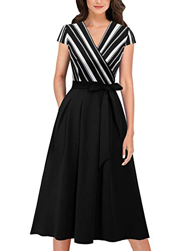 VFSHOW Womens Black and White Striped Elegant Patchwork Pockets Belted Pleated Work Business Office Casual A-Line Midi Dress 6179 STP XL
