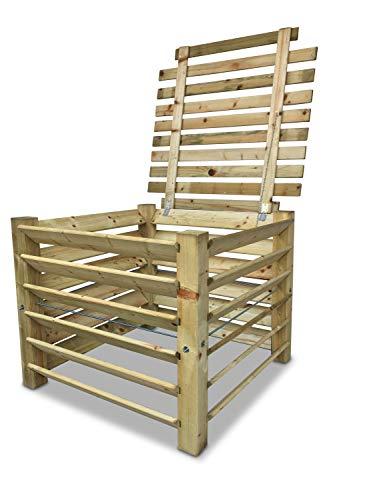 GartenDepot24 Compostiera in legno con coperchio, 100 x 100 x 80 cm, ca. 650 l