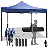 FDW Pop Up Canopy 10x10 Pop Up Canopy Tent Party Tent Ez Up Canopy Sun Shade Wedding Instant Folding Protable Better Air Circulation Outdoor Gazebo with Backpack Bag (Blue)