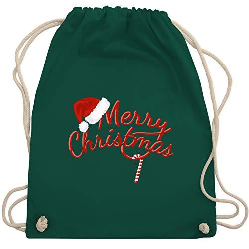 Weihnachten & Silvester - Merry Christmas Zuckerstange - Unisize - Dunkelgrün - zuckerstange - WM110 - Turnbeutel und Stoffbeutel aus Baumwolle