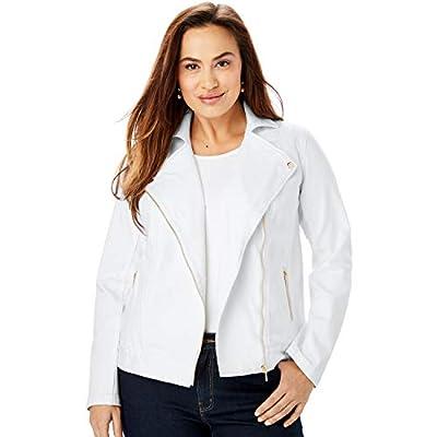 Jessica London Women's Plus Size Refined Denim Moto Jacket - 16 W, White from Jessica London