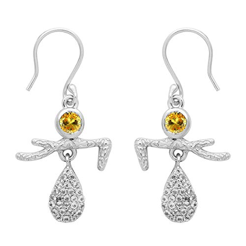 Pendiente de gota colgante de bailarina de plata esterlina 925 con piedras preciosas de forma redonda de opción múltiple (CZ amarilla)