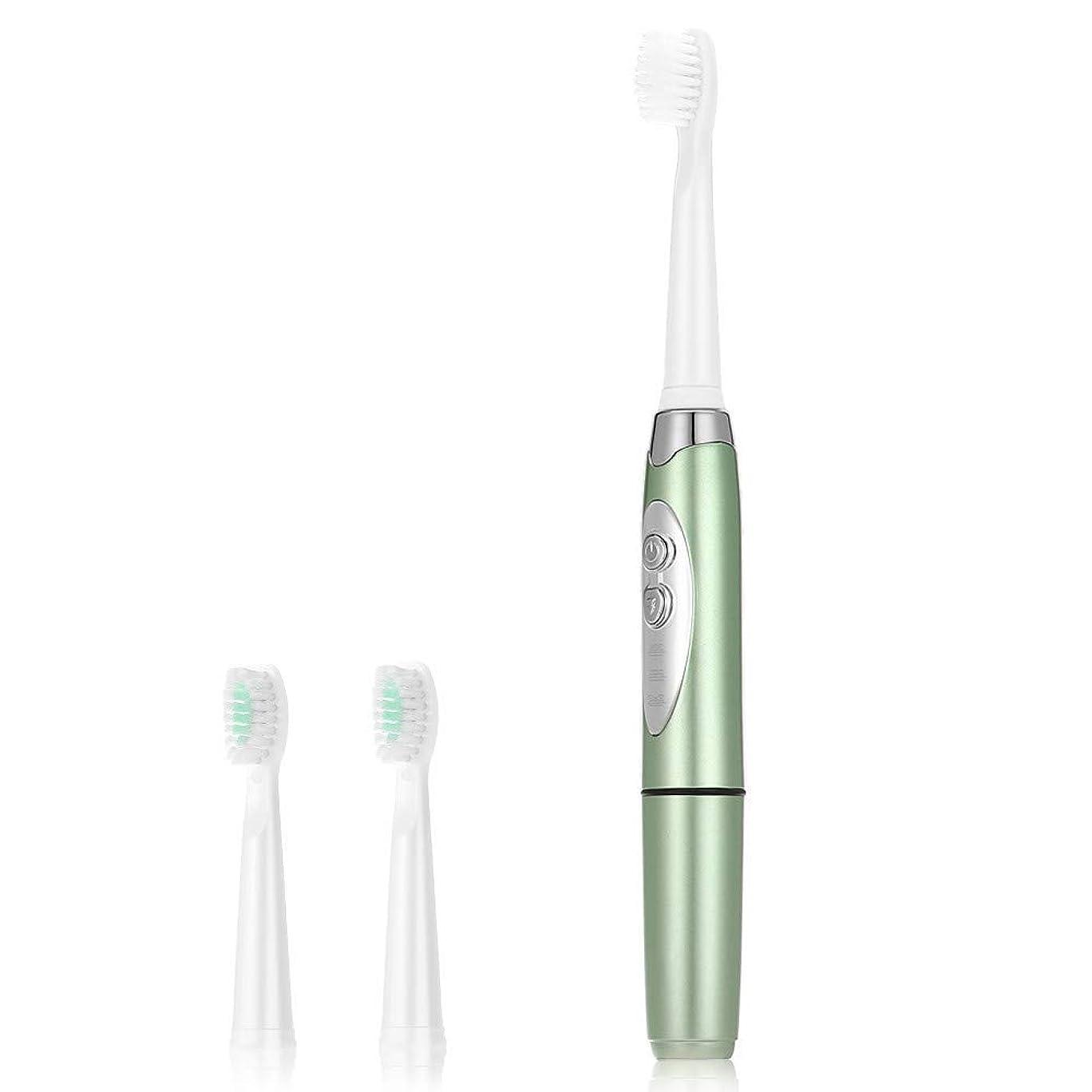 寛大な下手怠けた電動歯ブラシ大人のための電動ソニック歯ブラシ3つのクリーニングモード防水ホワイトニングバッテリー電源3個ブラシヘッド