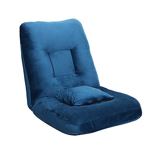 Bodenstuhl High Back Boden Gaming Stuhl, Gemütlich Faule Sofa-Couch-Bett, Klappstuhl für Jugendliche Mädchen Junge Erwachsene - Lesespiele (Color : Dark Blue)