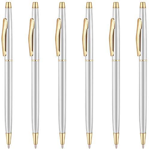Unibene Slim Metallic Retractable Ballpoint Pens - Silver & Gold, Nice Gift for Business Office Students Teachers Wedding Christmas, Medium Point(1 mm) 6 Pack-Black ink