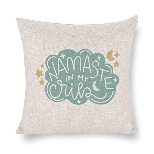 None Brand Namaste In My Cribs Funda de cojín, funda de almohada, lino rústico decorativo, almohada lumbar decorativa para silla, habitación, sofá, coche, decoración del hogar, regalo de inauguración de la casa, 45,7 x 45,7 cm