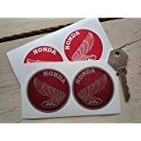 Honda Motorcycle Classic Round Red Wing Stickers ホンダ ステッカー シール デカール バイク レッド&シルバー100mm 2枚セット [並行輸入品]