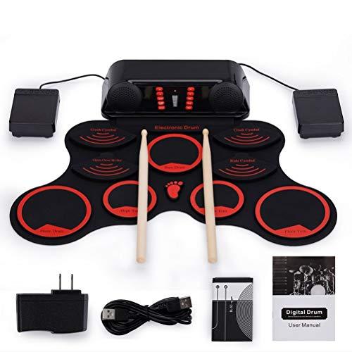 NINI Batería electrónica 9 Pad Roll Up Drum Kit de Silicona niños de percusión