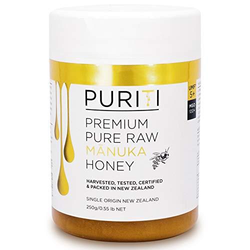 PURITI Manuka Honing MGO 100+ 250g uit Nieuw-Zeeland - gecertificeerd, laboratorium getest, zuiver natuurproduct, vrij van additieven, premium kwaliteit