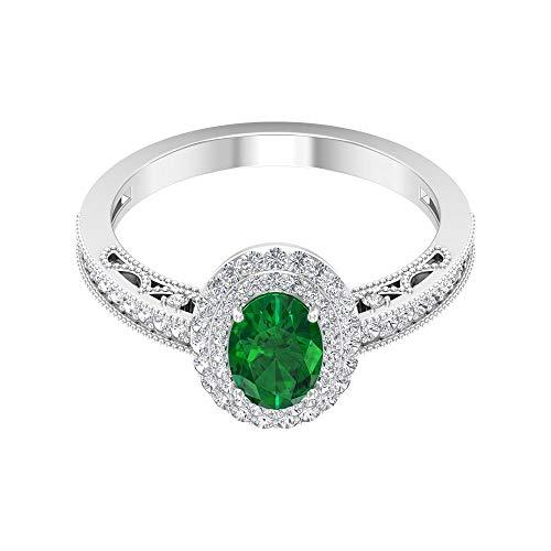 Anillo solitario de esmeralda con forma ovalada de 0,85 quilates, anillo de boda con doble halo de diamantes de 0,39 quilates, anillo de boda con cuentas con certificado SGL