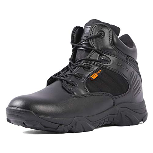 Wygwlg Bottes de Combat Militaires pour Hommes Chaussures d'entraînement Légères et imperméables Tactical Jungle Army Shoes Cheville Action Desert Boots,Black-42
