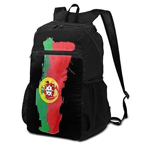 Xiongone - Mochila de viaje y senderismo con diseño de mapa de Portugal, unisex, ultraligera, resistente al agua, plegable, negro, Talla única