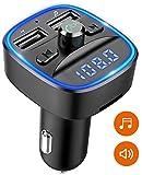 Cocoda Transmisor FM Bluetooth, [Luz de Anillo Azul] Manos Libres para Coche, Inalámbrico Reproductor MP3 Mechero Coche Adaptador Receptor con Dual USB 5V/2.4A & 1A, Soporte Tarjetas SD + U Disk
