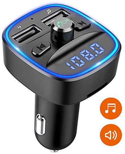 Cocoda Transmisor FM Bluetooth, Luz de Anillo Azul Manos