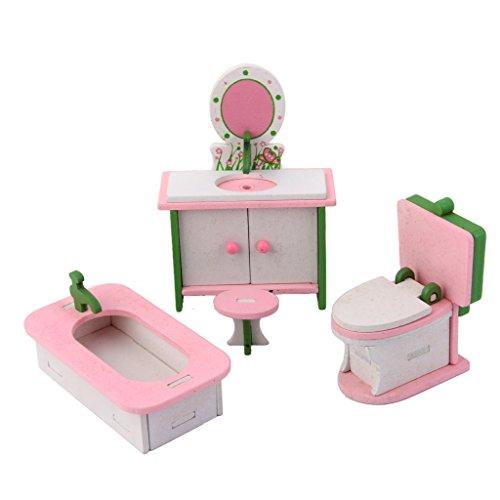 Conjunto de Muebles Baño Juetege de Madera para Casa de Muñecas Niños