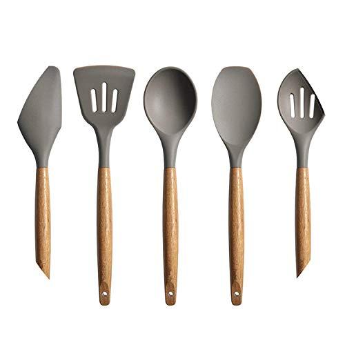 KC1048 - Juego de utensilios de cocina de silicona con mango de madera (5 piezas)