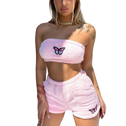 Plüsch-Pyjama-Set für Frauen, Schmetterlings-Stickerei und Hund, bedruckt, Kawaii, Anime, Cosplay, Nachtwäsche, Anzüge, süßes Oberteil und Shorts Gr. 38, B Pink