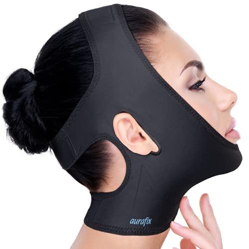 Neck Chin Compression Garment Strap Bandage, Face Slimmer, Double Chin Wrap (Black, M)