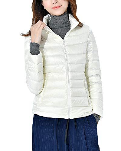 Daunenjacken Damen Stehkragen Ultraleicht Steppjacke Winter Jacke Daunenmantel Übergangsjacke Weiß 2XL