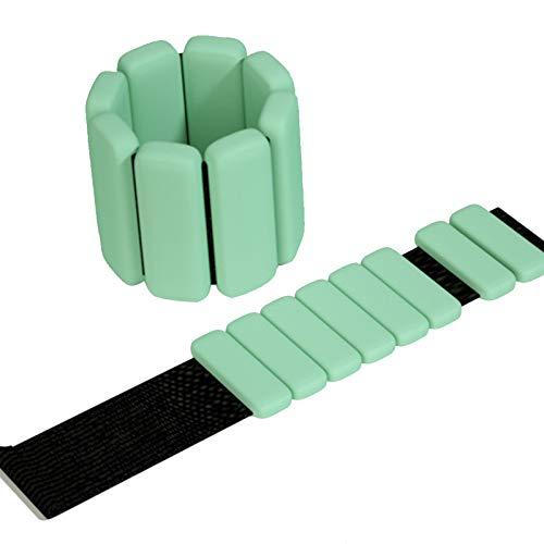 NXLWXN Pesas de muñeca ajustables de silicona para brazaletes de tobillo y muñeca, color verde, 1 libra x 2