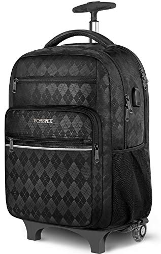 Rolling Backpack, 17 Inch Large Roller Backpack for Women Men with USB Charging Port,Trolley School...