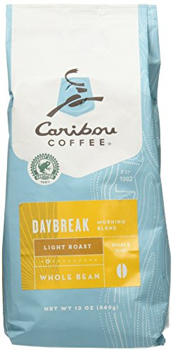 Caribou Coffee, Daybreak Morning Blend, Whole Bean, 12 oz. Bag, Breakfast Blend of Light Roast Coffee Beans from the Americas & East Africa, Bright Body with A Smooth Finish; Sustainable Sourcing