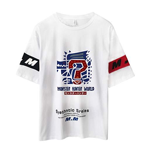 Monster Hunter World Short Sleeve,Videojuego MHW 3D Impreso 100% Algodón Blanco T-Camisa para El Juego De Verano Fan Adolescente B M