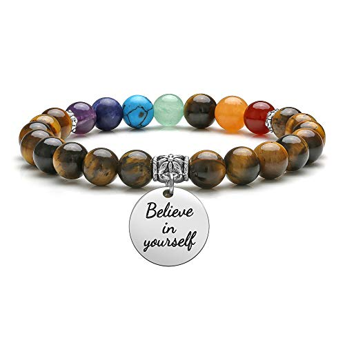 JOVIVI Natural Tiger Eye Bracelet 7 Chakra Healing Crystal Gemstone Prayer Beads Engraved Believe in Yourself Inspirational Bracelet Motivational Quote Tag Jewellery for Women Men