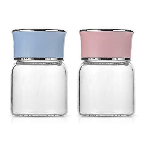 Yemiany Tarros de cristal de yogur,tarro cristal,2 botellas de vidrio de 150 ml con tapa interior de acero inoxidable,mermelada resistente a altas temperaturas y tarro de vidrio de miel (azul,rosa)