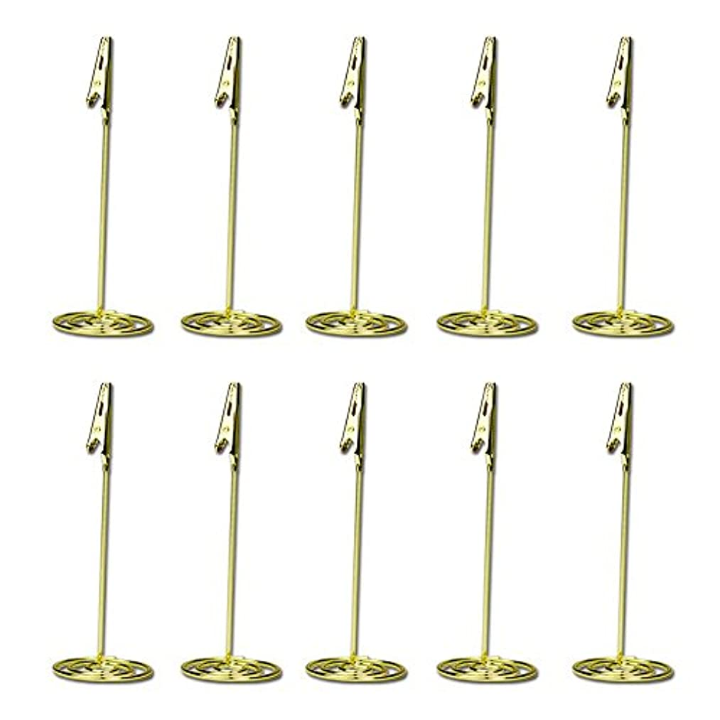 EBTOYS Alligator Clasp Photo Clip Name Card Holders Photo Stand Note Memo Clip, Golden, 10 Piece