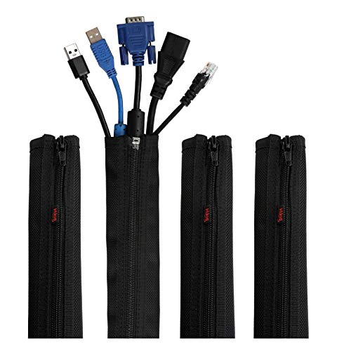 """Hikig 4 Pièces 19.5"""" Nylon Câble Organisateur Cache-câble Pour Ranger ou Cacher les câbles, Gaine Pour câbles de Télé ou Ordinateur - Noir"""
