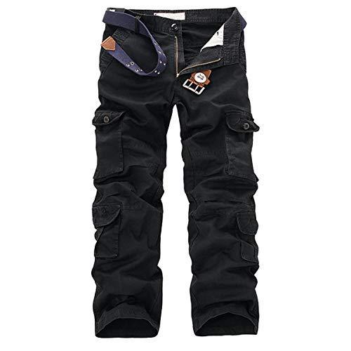 Allthemen - Pantalón de trabajo para hombre, estilo Cargo, multibolsillos, sin cinturón Negro 34 W