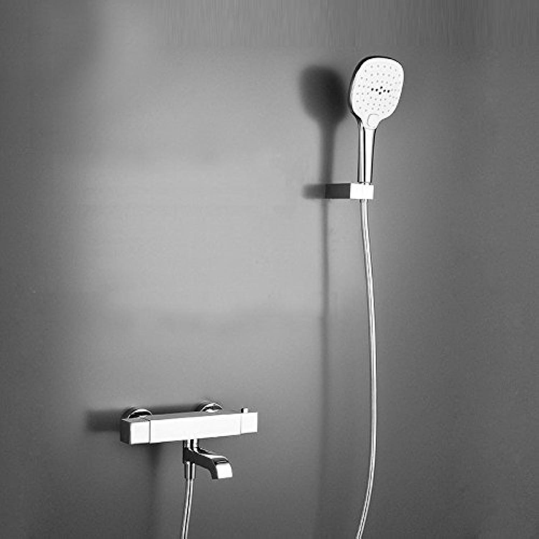 Luxurious shower Kostenloser Versand Dusche Wasserhahn Set Bad thermostatische Mischbatterie Chrom Mischbatterie ABS Handbrause Wandmontage AF081