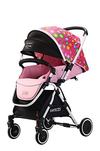 Baciuzzi, passeggino pieghevole con seduta alta e manico reversibile per seduta fronte mamma, completo di accessori e borsa coordinata, Verso Coupè, Girl