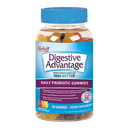 Digestive Advantage, Probiotic Gummy for Adults, Digestive Advantage 60 Gummies, Gluten-Free, Survives 100x Better, Assorted Fruit Flavors, Supports Digestive Health