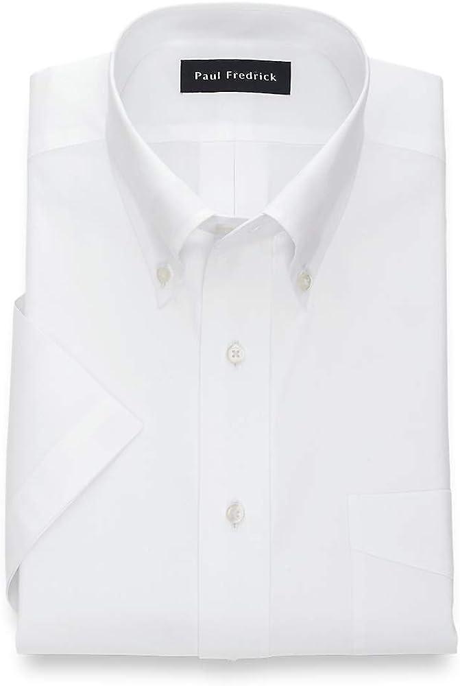 Paul Fredrick Men's Pinpoint Button Down Collar Short Sleeve Dress Shirt