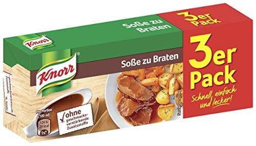 Knorr Würzbasis Soße zu Braten (ohne geschmacksverstärkende Zusatzstoffe), 10er Pack (10 x 3 Stück á 250ml)