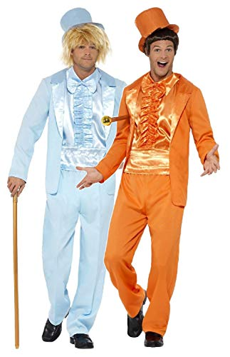 Couples Mens Dumb and Dumber 1990s Decades Film Jim Carey Jeff Daniels TV Stag Do Fancy Dress Costumes Outfit (Orange Suit XL & Blue Suit XL)