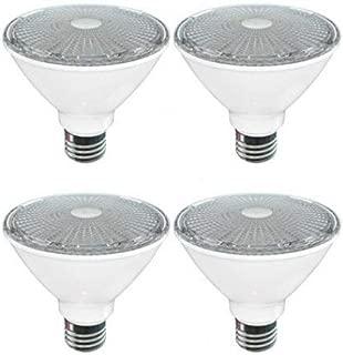 SleekLighting Par30 Short Neck LED 11 Watt Dimmable Wide Flood Light Bulb(40°), Soft White (3000K), 800 Lumens, E26 Medium Base, 75 Watt Equivalent, Energy Star & UL Listed Wet Location Pack of 4