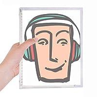 ヘッドセットの抽象的な顔スケッチ絵文字 硬質プラスチックルーズリーフノートノート