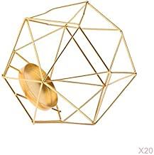 Fenteer 20pcs Iron Wire 3D Geometric Tea Light Holder Candle Holder Lantern Table Top Desk Shelf Display Window Box Case