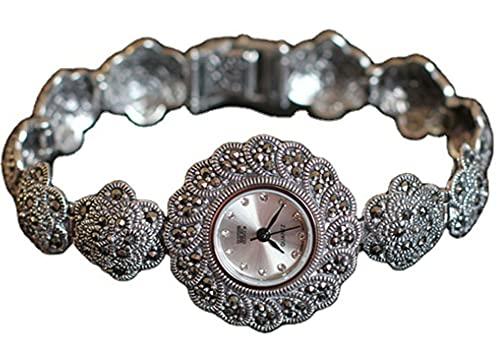 CHXISHOP Reloj de plata de ley 925 para mujer con diseño de flor de ciruelo y esfera redonda con incrustaciones de circón reloj gótico reloj de movimiento de cuarzo blanco-16.5cm