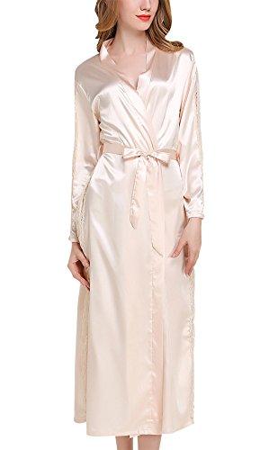 FEOYA Damen Satin Morgenmantel Lang Bademantel Elegant V Ausschnitt Spitze Nachtkleid Sleepwear Nachtwäsche mit Gürtel - Champagner