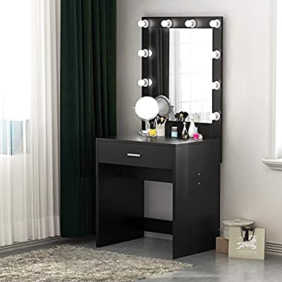 Tribesigns Vanity Set with Lighted Mirror, Makeup Vanity Dressing Table Dresser Desk with Drawer for Bedroom