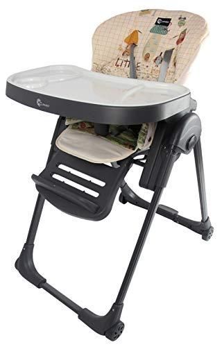 Clamaro 'Gourmet' Premium Baby Hochstuhl mit Liegefunktion, höhenverstellbar (6-Fach), sehr kompakt zusammenklappbar, Tablett 3-Fach verstellbar, 5-Punkt Gurt, Transportrollen mit Bremse - Anthrazit