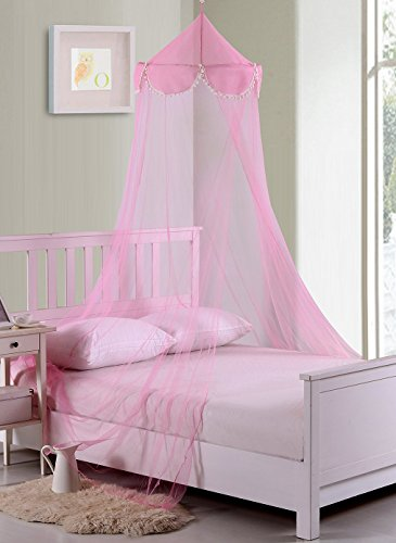 Fantasy Kids Pom Collapsible Hoop Sheer Bed Canopy, One Size, Pink