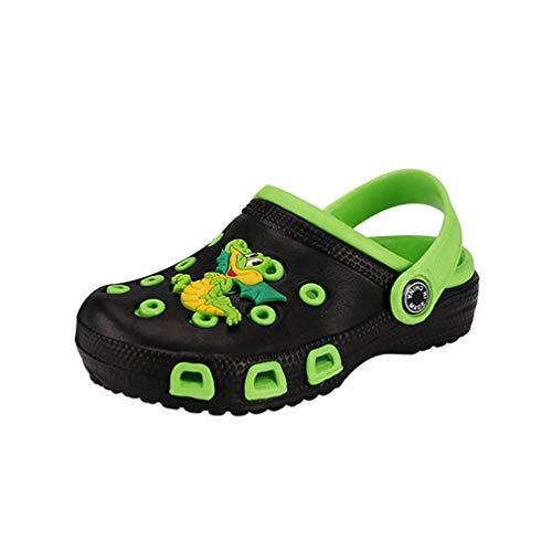 Kaiyei Kinder Clogs Jungen Mädchen Hausschuhe Sandalen rutschfest Atmungsaktiv Leicht Eva Gartenschuhe Kleinkinder Surfen Sommer Schuhe Playshoes Schwarz/Grüner Drache 29 EU