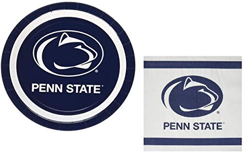 Penn State Nittany Lions Party Supplies: Large Paper Plates and Napkins for Tailgating, Birthday, Graduation Serves 20