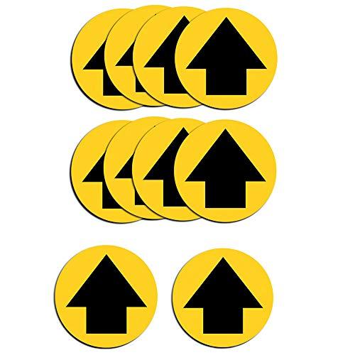 Belons 10 Stück Abstand Halten Aufkleber 30 x 30 cm - Fußbodenaufkleber Abstand Sticker Pfeil Hinweisschild Sicherheitsabstand Aufkleber für Firma Geschäft Schule Bank