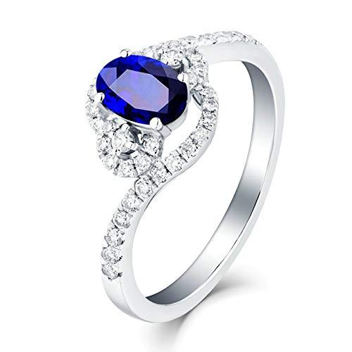 AieniD 18K Weißgold Trauringe Damen Ovalschliff Saphir Blau Ring Blau Saphir Im Ovalschliff Mit Diamant Von 1.37 Ct Size:65 (20.7)